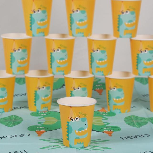 Dinosaure jetable fête vaisselle tasse assiette serviette nappe bannière joyeux anniversaire fête décorations enfants babyrain fournitures