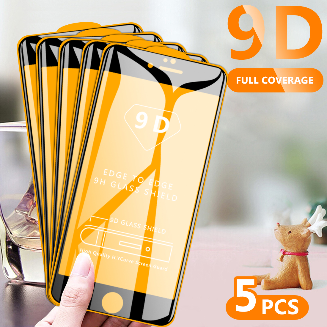 5Pcs  Full Cover Tempered GlassFor IPhone 6 6 Plus 6s 6s Plus 7 7 Plus 8 8 Plus X XS XR Xs Max 11 9D Screen Protector HD Clear