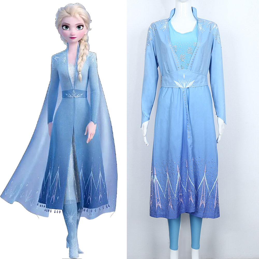 2019 New Movie Frozen 2 Elsa Cosplay Costume Ice Queen Elsa Princess Dress Adult Women Blue Outfit For Halloween Chrismtas Party