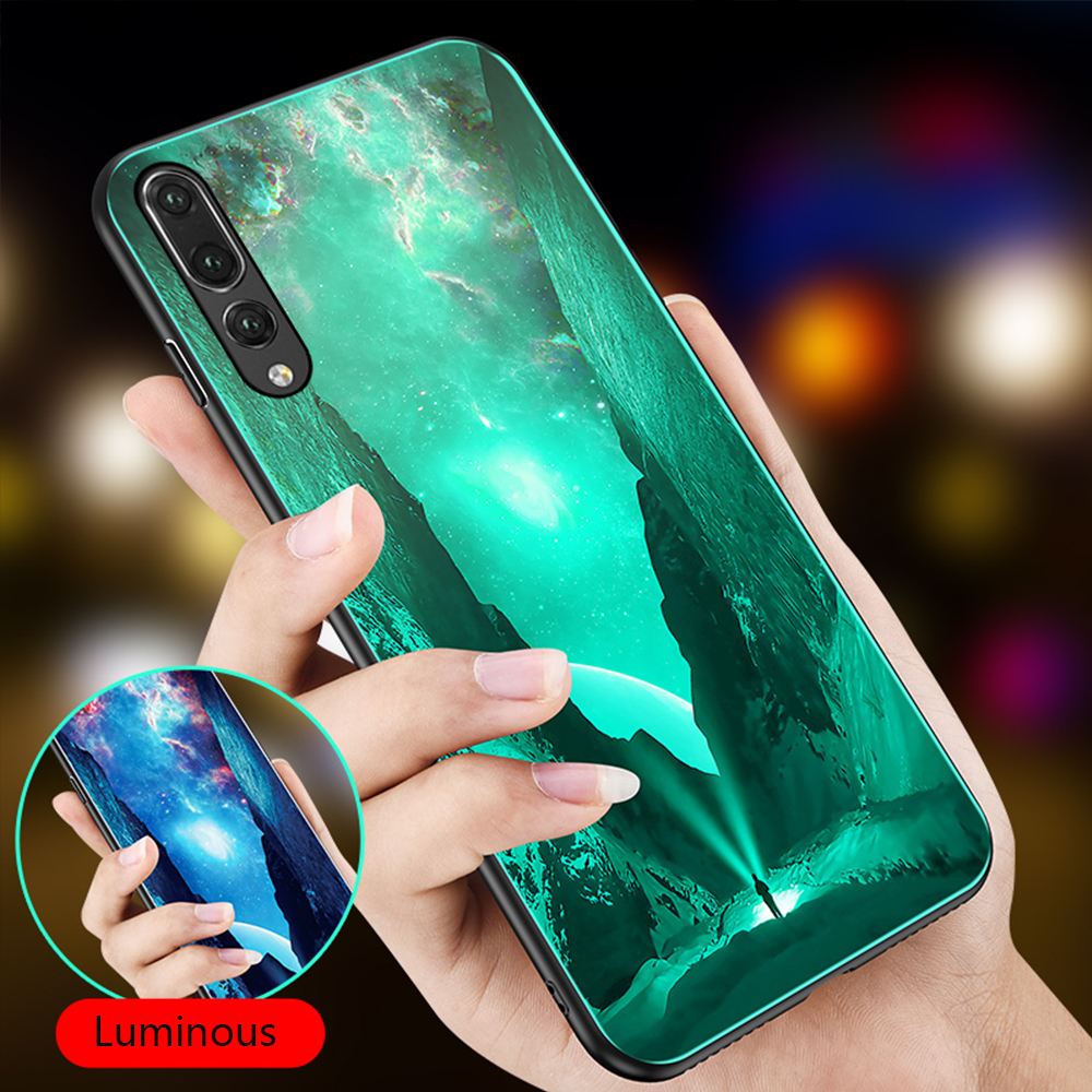 Luminous Phone Cover For <font><b>Huawei</b></font> Honor Play 7X 8 8X Max 9 10 Lite For P20 P30 Mate 10 20 Lite Pro <font><b>P10</b></font> Nova 3 Tempered <font><b>Glass</b></font> <font><b>Cases</b></font> image