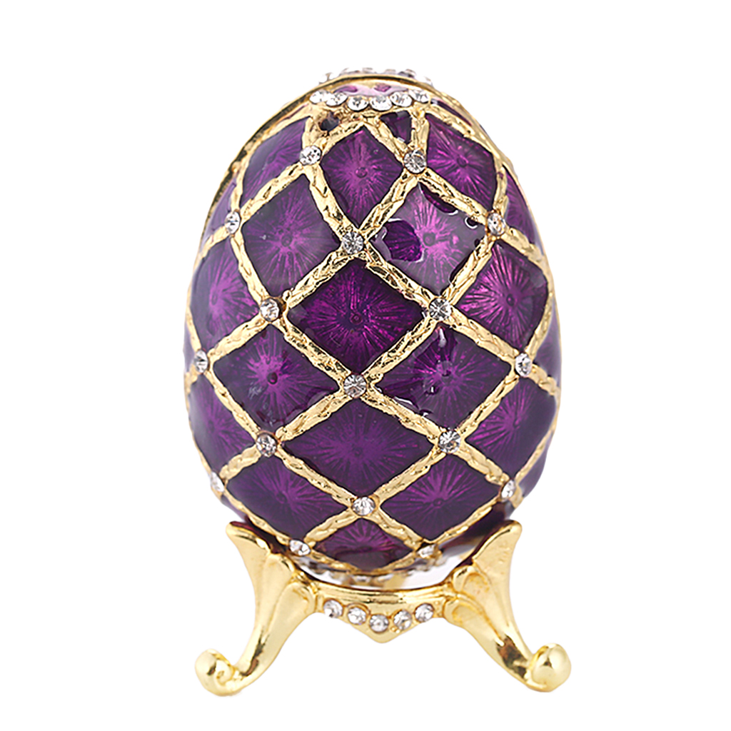 Vintage Violet Enamel Egg Shaped Trinket Jewelry Box Ring Holder Box