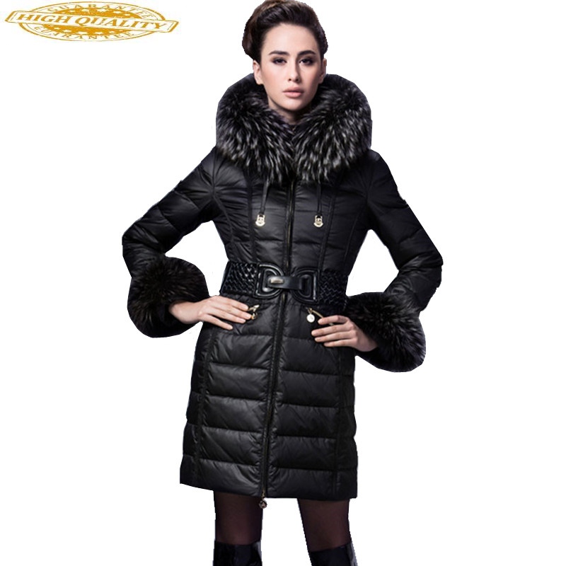 2020 Luxury Winter Down Jacket Women Warm Thick White Duck Down Jackets Real Raccoon Fur Collar Long Slim Coats 1507201
