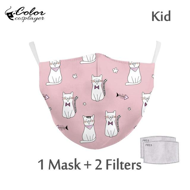 Color Cosplayer Kids Cartoon Face Fabric Masks Pink Cute Cat Print Mask Washable Reusable Children Mask Outdoor 3