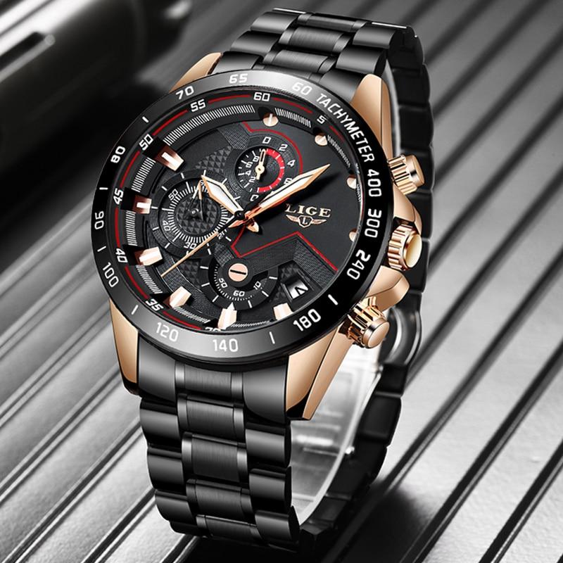 2020 LIGE New Men Watches Classic Fashion Watch Men Sports Stainless Waterproof Wristwatch Quartz Clock Overseas Warehouse Watch