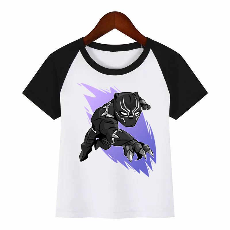 Dei bambini Del Nuovo Fumetto di Stampa Del Fumetto Pantera Nera di Estate Dei Bambini T-Shirt Per Bambini di Abbigliamento di Moda Della MAGLIETTA Dei Bambini Del Fumetto T-Shirt