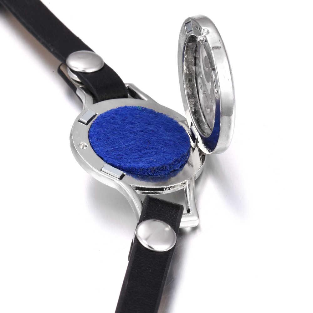 Nouveau diffuseur d'arôme Bracelet aromathérapie diffuseur d'huile essentielle médaillon Bracelets réglable en cuir véritable Bracelet d'enveloppe femmes