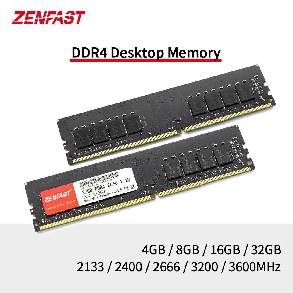 ZENFAST Desktop RAM 4GB 8GB 16GB 32GB Memory DDR4 2133 2400 2666Mhz Memoria Dimm 288-Pin 1.2V High Performance