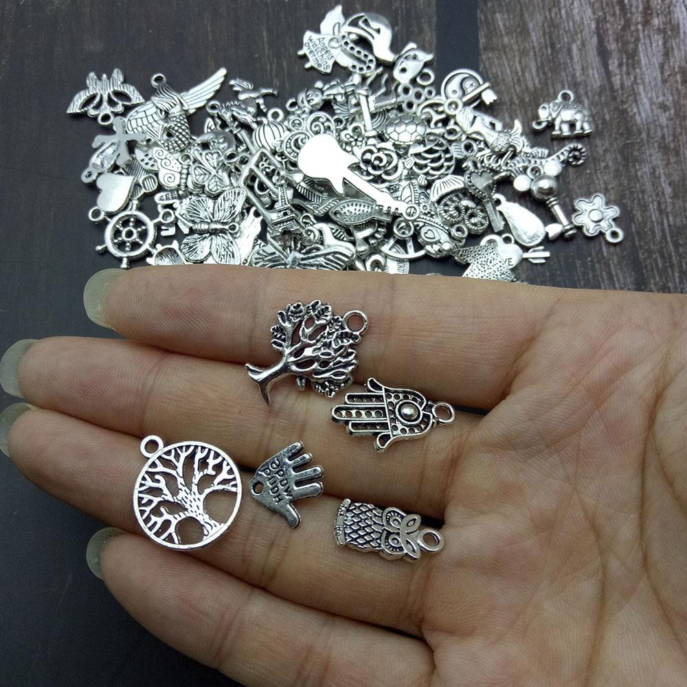 Charms llaves en plata tibetana para pulsera europea y compatibles