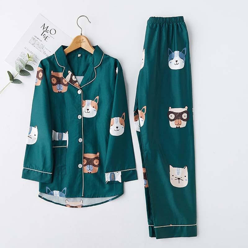 Комплект хлопковых пижам с длинными рукавами из 2 предметов, зеленая пижама с принтом кота, собаки, животного, отложной воротник, женские пиж