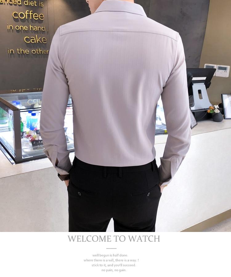H59fa0f253cf7455395892baa5802dbecJ Solid Color Shirt Dress Brand New Slim Fit Men Shirt Solid Long Sleeve Shirts Men Camisa Masculina Tuxedo Clothes