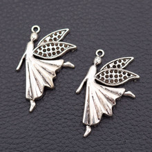 WKOUD 5pcs Antique Silver Butterfly Fairy Charms Necklace Earrings Pendant DIY Metal Jewelry Handmade Accessories 40*26mm A72