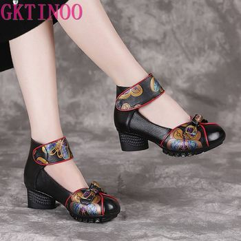 GKTINOO 2020 Spring Autumn New Retro Genuine Leather Platform Shoes Womens Pumps High Heel Soft Bottom Women Designers