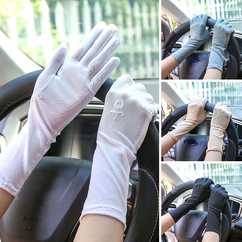 New Women Lace Sunscreen Gloves Summer Spring Female Stretch Gloves Anti-UV Resistant Driving Glove Breathable Guantes White