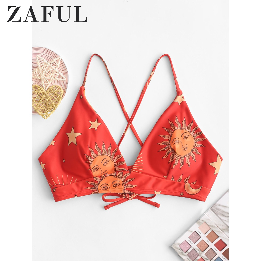 ZAFUL Sun And Moon Lace Up Padded Bikini Top 2020 Summer Print Tie Vest Bikini Top Padded Triangle Bra Women Cami Bikini Bra