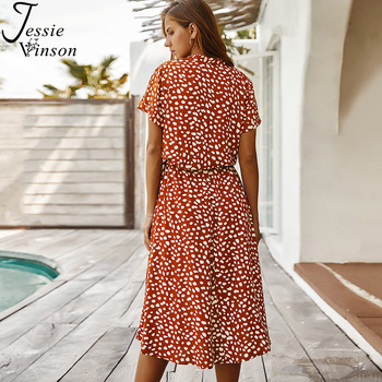 Jessie Vinson Dots Print White Summer Dress  4