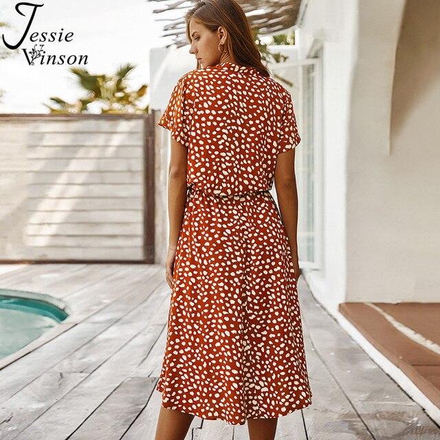 Jessie Vinson Dots Print White Summer Dress Women Short Sleeve Tunic Midi Dress Casual  Boho Beach Dress Vestidos 2020 ZA Dress