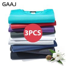 2020 GAAJ T Shirt Men 100 Cotton 3 Pieces Pcs Lot Tshirt Basic Blank T-shirt Mens Tshirt 3 Pack Solid Top Streetwear Tee Shirt
