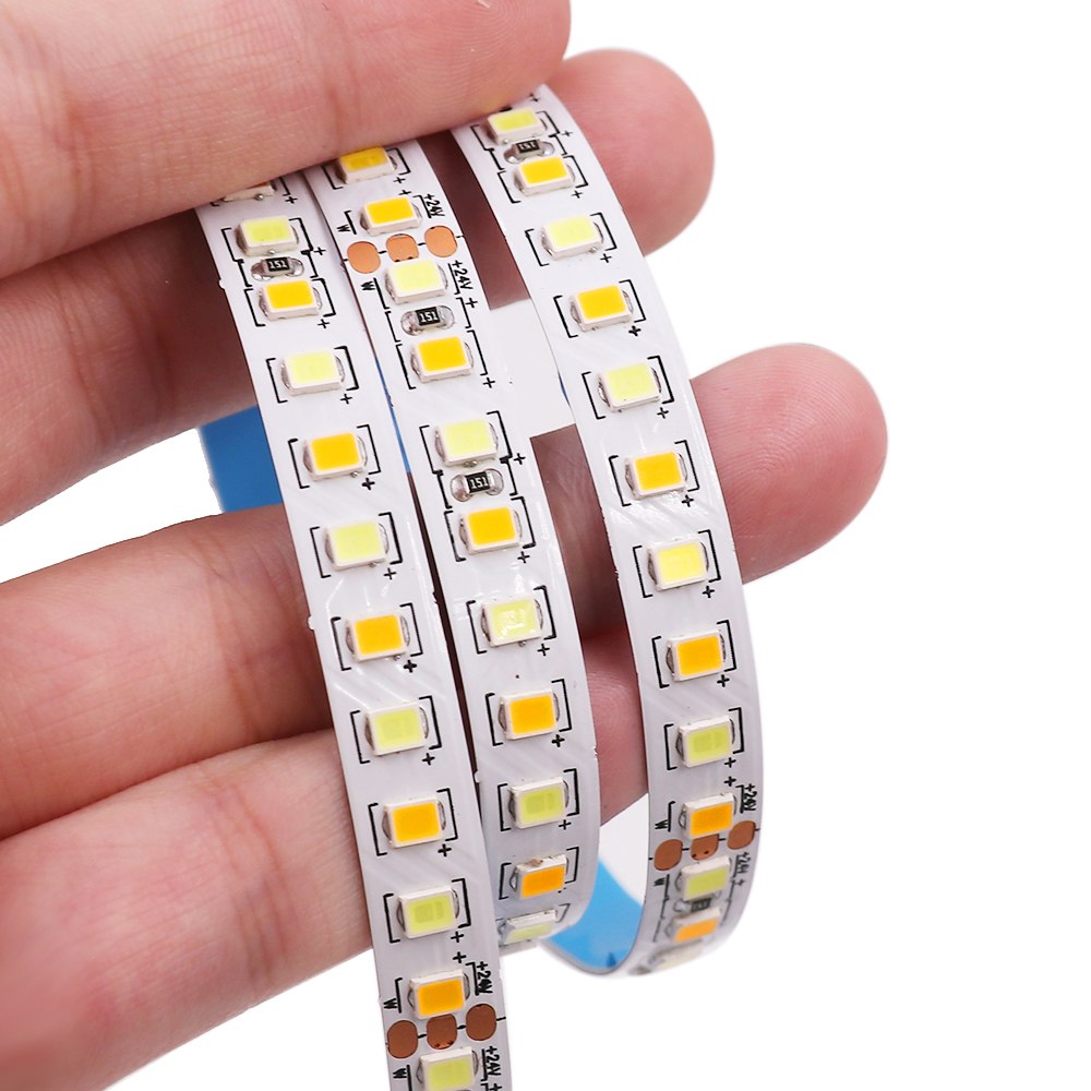 New 5M Led Strip Light 2835 24V 168LED/M CCT Warm White+ White Pixel Strip Flexible LED Tape Ribbon For Home Decoration 8MM PCB