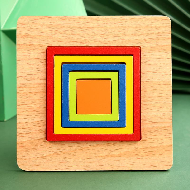 High Quality Colorful 3D Wooden Geometric Shapes Cognition Puzzles Board Math Game Montessori Learning Educational For Kids Toys 9