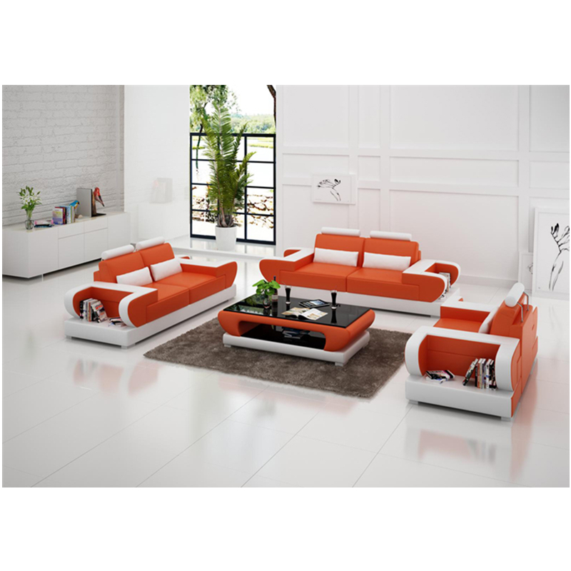 high end modern   living room  1+2+3 sectional genuine leather sofa 4