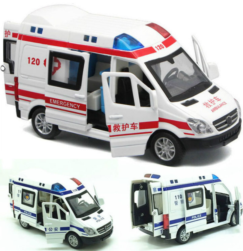 1//32 Scale Ambulance Medical Diecast White Vehicles Car Light Sound Pull Back