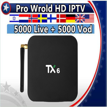 TX6 Android 9.0/Dual WIFI Smart TV box&Pro World HD Subscription Nordic France Sweden Netherlands Israel Arabic Hebrew IPTV