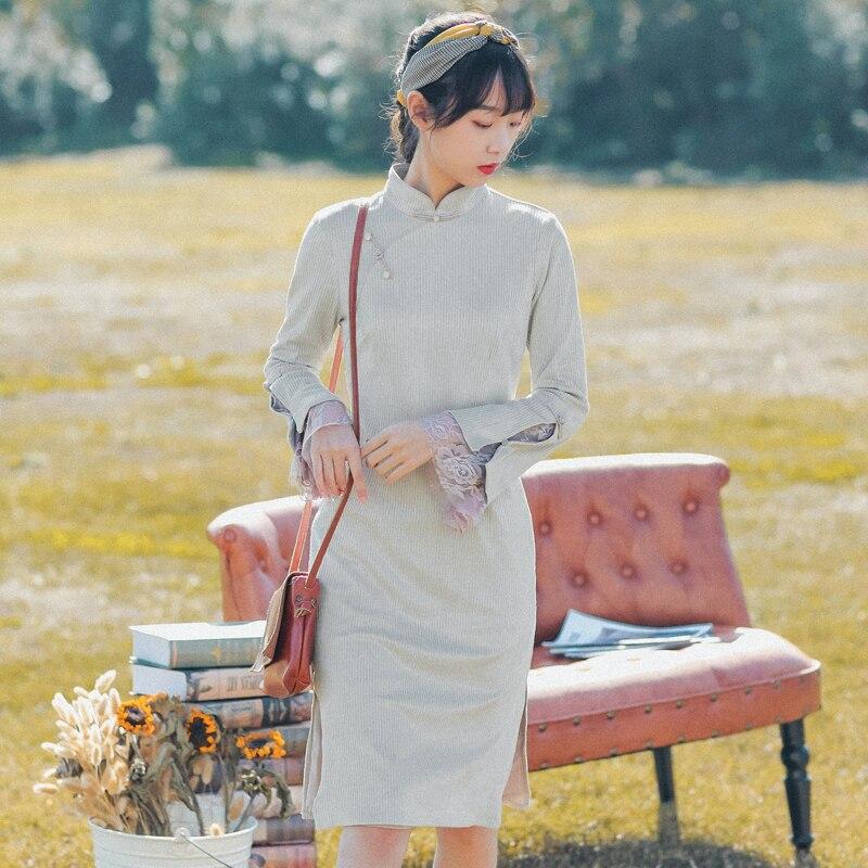 2020 Improved Cheongsam Chinese Dress For Women Tangsuit Elegant Vintage Qipao Dress Linen Long Sleeve Dresses Vestidos