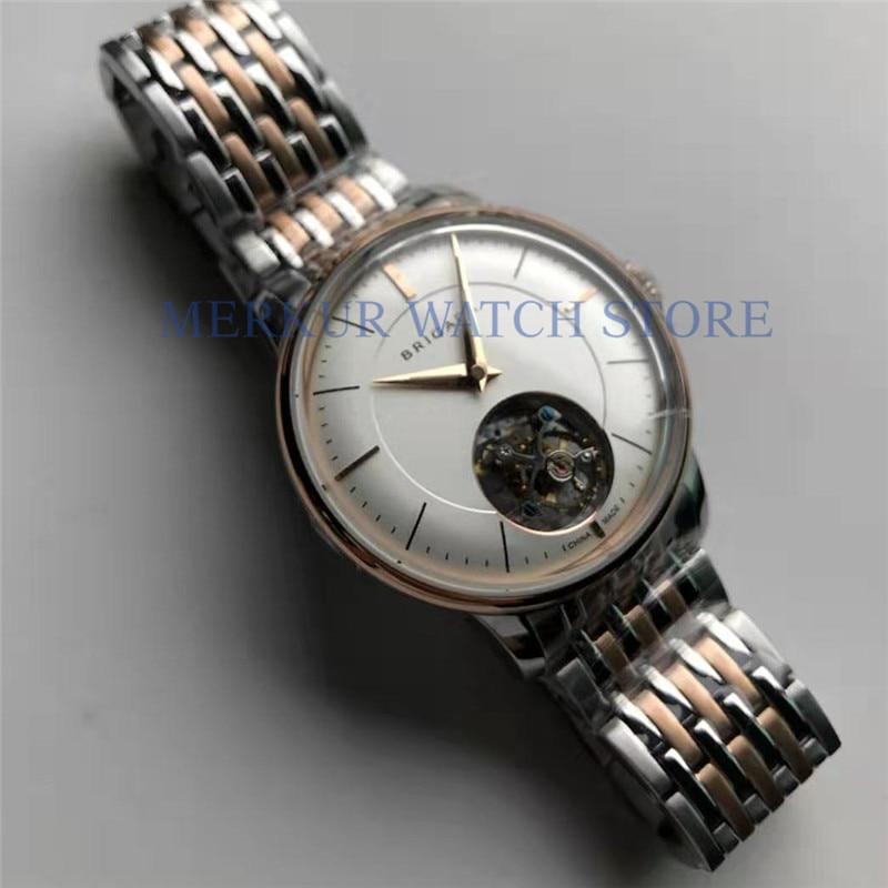 BRIGADA Mens Seagull ST8000 Tourbillon Movement Mechanical Skelenton Luxury Watch