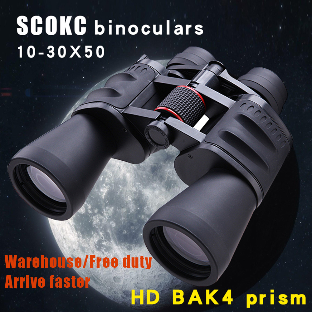 SCOKC 10-30X50 Power Zoom Binoculars 10-30x60 For Hunting Professional Monocular    Telescope BAK4 Porro Prism Low Night Vision