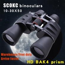 Scokc binóculos de zoom 10 30x50, zoom de potência, 10 30x60, para caça, telescópio monocular profissional, bak4, porro, prisma, visão noturna e baixa