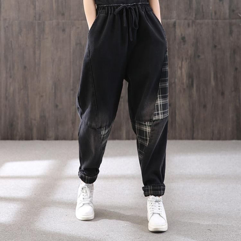 New Korea Fashion Spring Autumn Women Elastic Waist Loose Denim Harem Pants All-matched Casual Patchwork Plaid Jeans S599