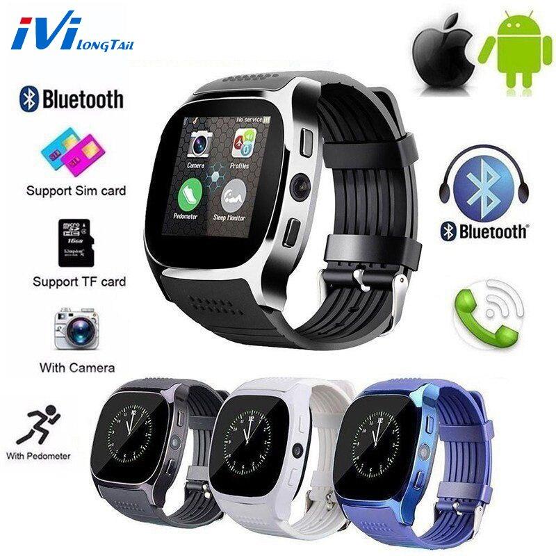 IviLongTail T8 Sport santé montre intelligente caméra Bluetooth podomètre GSM SIM Sport Fitness étanche montre-bracelet pour ios Android