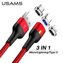 USAMS magnétique Charge rapide USB Type C câble aimant chargeur données Charge Micro USB câble pour Iphone Xiaomi mi Huawei câble cordon