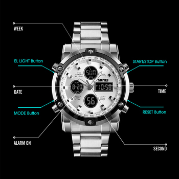 Fashion Men's Wristwatch SKMEI Watch Sport Digital Bracelet 3 Time Countdown Mens Clock Stainless Steel Watches  Male Business
