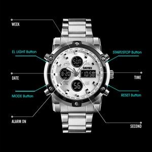 Image 2 - אופנה גברים של שעוני יד SKMEI שעון ספורט דיגיטלי צמיד 3 זמן ספירה לאחור Mens שעון נירוסטה שעונים זכר עסקים