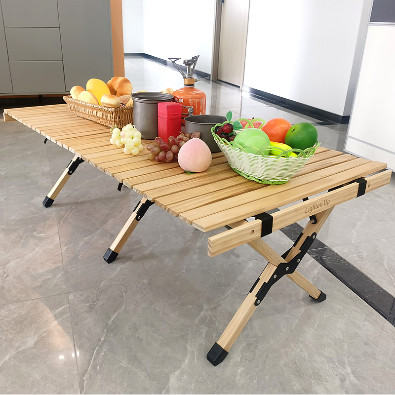 Lighten Up Outdoor Furniture Bbq-Table Folding Camping Egg-Roll-Style Barbecue Picnic Solid-Wood