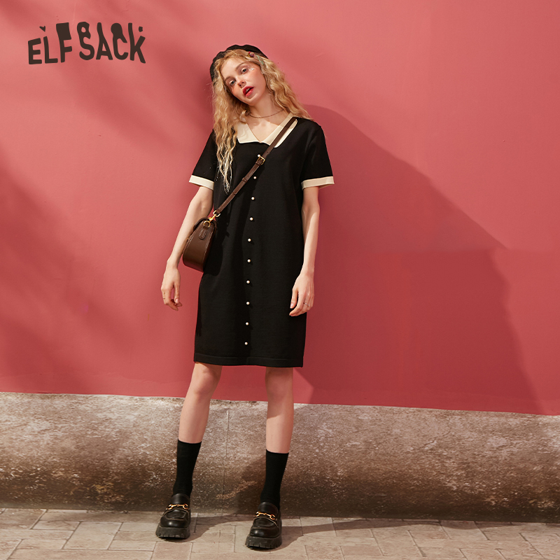 ELFSACK White Solid Single Pearls Button Knit Casual Women Dress 2020 Spring Black Pure Long Sleeve Korean Ladies Daily Dresses