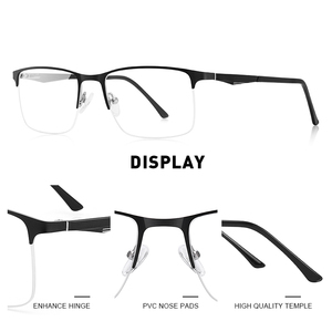Image 2 - تصميم نظارات من ميريس للرجال بإطار من خليط معدني من التيتانيوم نظارات قصر النظر خفيفة بنصف مربع للرجال S2059