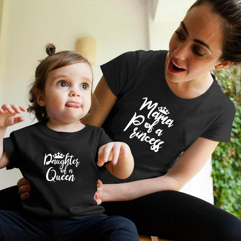 Matching Family Outfits Printing Pattern Mom And Daughter T Shirt Mother Day Present Short Sleeve Matching Matching Outfits