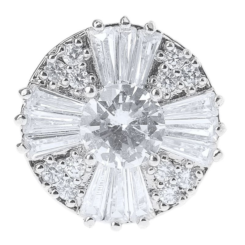 2020 New 1Pc 17mm Glitter Zircon Round With Cross Shape Decorative Buttons With Metal Loo