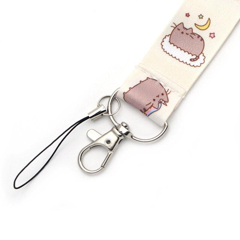 CA256 милые Мультяшные шнурки с котом для брелка для ключей ID Card Pass для мобильного телефона, USB держатель для бейджа, висячая веревка, Lanyard
