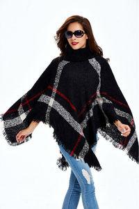 Image 5 - [Visual Axles] 2020 New Fashion Women Winter Warm Wool Plaid Knitting Poncho 7 Colors Provided