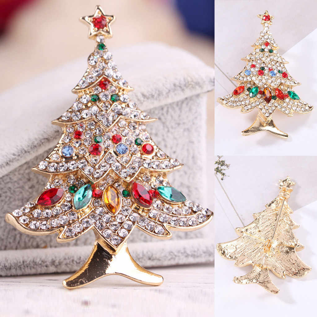 Women's Christmas Tree Brooch Beautiful Party Evening Scarf Clip Christmas Gift For Women Cute Jewelry Gift santuzza ##45