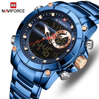 Nowy NAVIFORCE Top luksusowa marka mężczyźni zegarek kwarcowy mężczyzna zegar Design zegarek sportowy wodoodporna stal nierdzewna zegarek Reloj Hombre tanie i dobre opinie Składane zapięcie z bezpieczeństwem 3Bar QUARTZ Podwójny Wyświetlacz Stop 24cm Hardlex 15 5mm 23mm Okrągły Kwarcowe Zegarki Na Rękę