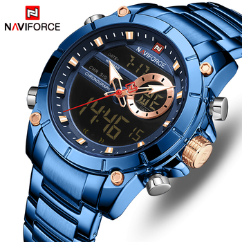 Nowy NAVIFORCE Top luksusowa marka mężczyźni zegarek kwarcowy męski wzór zegara Sport zegarek wodoodporna stal nierdzewna zegarek Reloj Hombre tanie i dobre opinie 24cm QUARTZ Podwójny Wyświetlacz 3Bar Składane zapięcie z bezpieczeństwem Stop 15 5mm Hardlex Nie pakiet STAINLESS STEEL