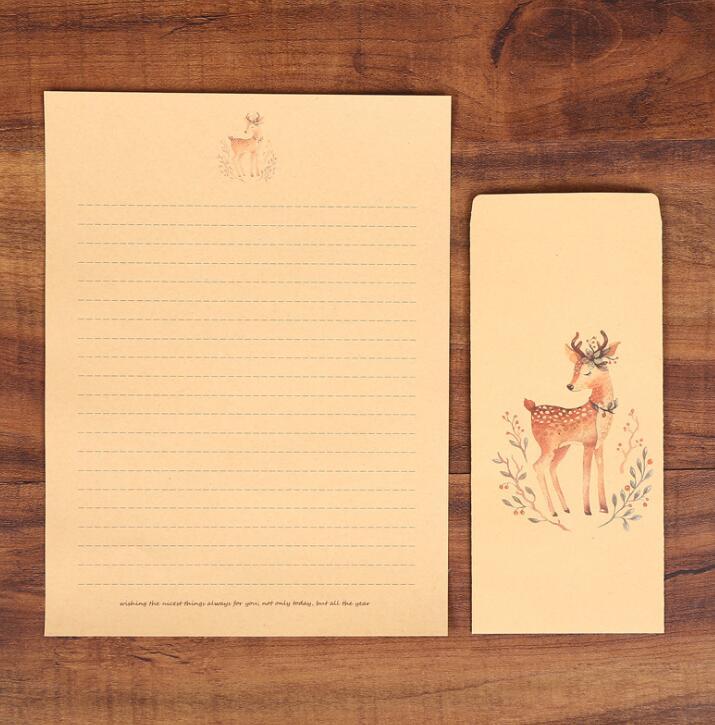 XRHYY 6 шт., винтажная бумага для письма с оленем и конвертами, ретро набор, крафт-бумага для письма, винтажный набор бумаги с буквами - Цвет: Set4