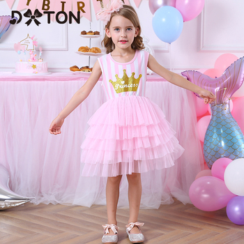 DXTON Girls Dresses Summer Kids Clothing Sleeveless Cute Princess Dress For Wedding Birthday Party Ball Gown Tutu Children Dress girls unicorn dress kids cute cartoon ball gown children halloween cosplay birthday party princess dresses for girls clothes