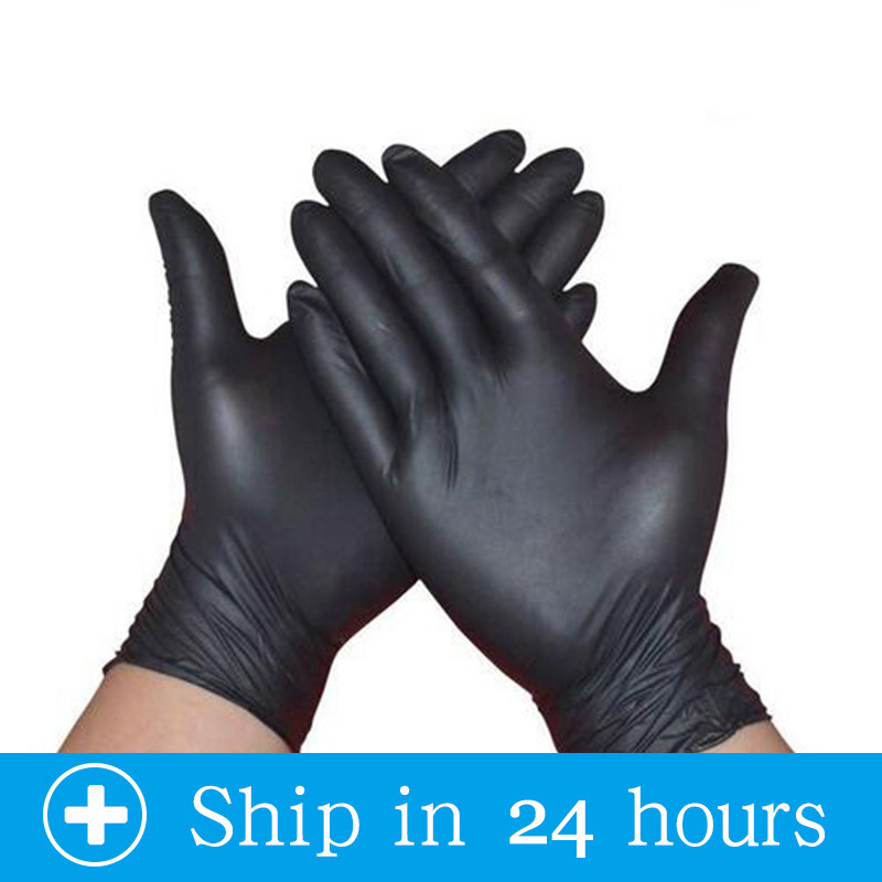 100pcs Black Nitrile Disposable Gloves Latex Dishwashing/Kitchen/Medical /Work/Rubber/Garden Gloves Universal Left Right Hand