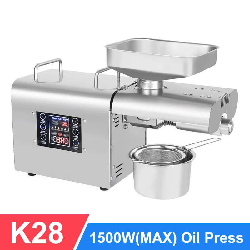K28 Automatic Oil Press Household FLaxseed Oil Extractor Peanut Oil Press Cold Press Oil Machine 1500W(max)
