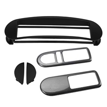 1 Din Radio Fascia DVD Stereo Panel Dash Trim Kit with 2PCS Car Door Interior Handle Bowl Cover Trim for Beetle 2008